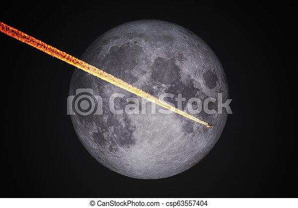 entiers, vol, ciel, lune, avion, nuit, devant - csp63557404