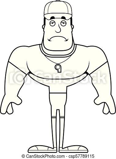 entraîneur, dessin animé, triste - csp57789115