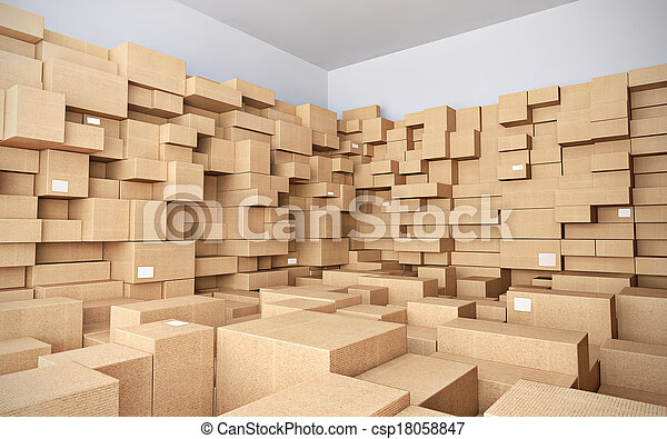 entrepôt, beaucoup, boîtes, carton - csp18058847