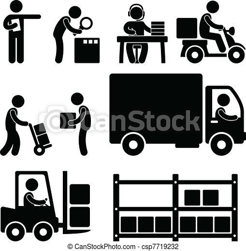 entrepôt, livraison, logistique, icône - csp7719232
