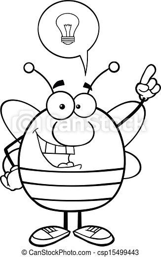 esquissé, bon, idée, abeille - csp15499443