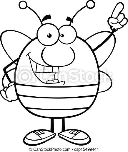 esquissé, doigt indique, abeille - csp15499441