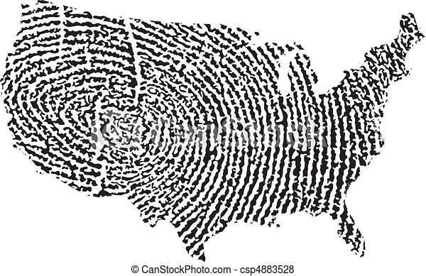 etats, carte, uni, empreinte doigt - csp4883528