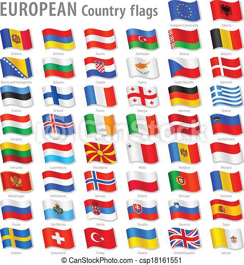 europe, national, vecteur, ensemble, drapeau - csp18161551