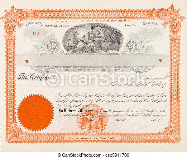 exploitation minière, compagnie, certificat, 1898, stockage, mineurs, etats-unis - csp5911706