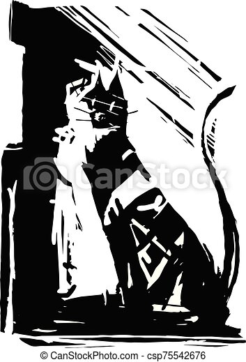 expressionistic, chat, noir - csp75542676