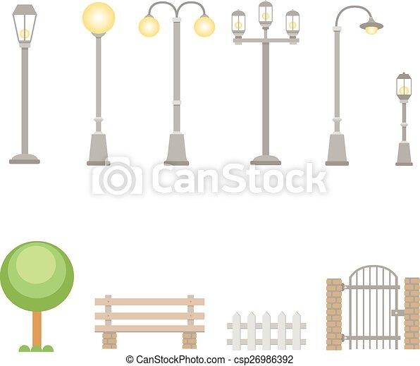 extérieur, vecteur, construction, rue, éléments, ensemble, lumières, guichet, lampes, barrière, village, banc, landscapes., urbain - csp26986392