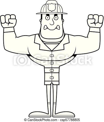 fâché, pompier, dessin animé - csp57788805