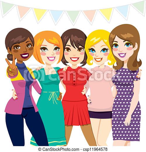 fête, amis, femmes - csp11964578