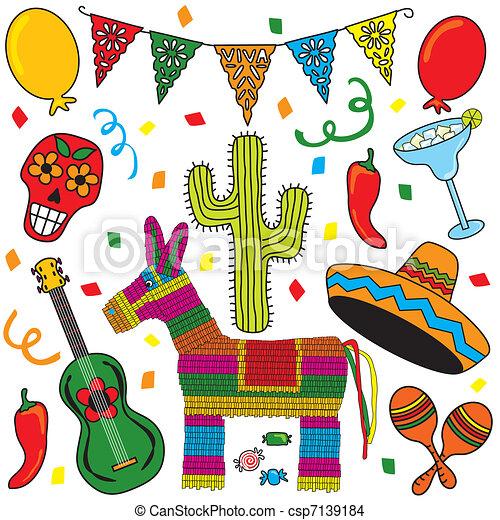 fête, art, fête, agrafe, mexicain - csp7139184