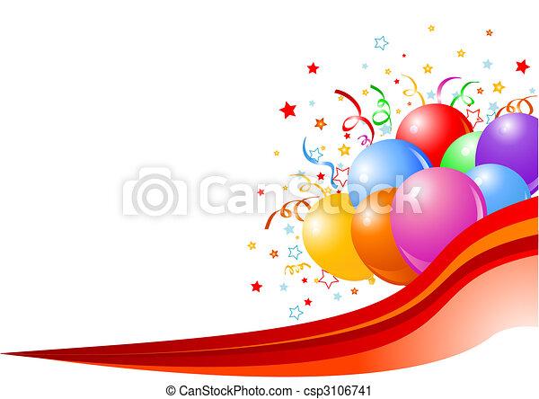 fête, fond, ballons - csp3106741
