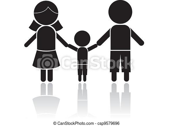 famille, figure bâton - csp9579696
