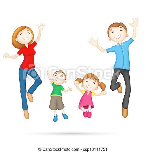 famille heureuse, 3d - csp10111751
