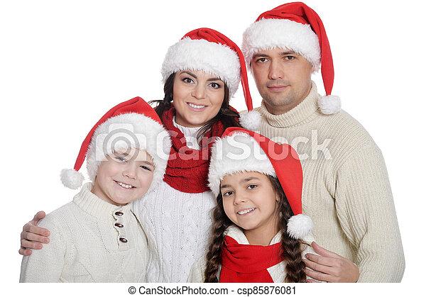 famille, heureux, santa, gosses, poser, chapeaux - csp85876081