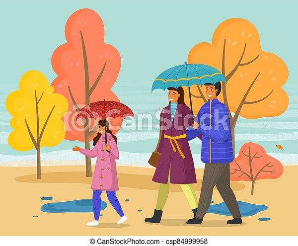 famille, parapluie, marche, parc, saison, automne, imperméables, ville, pluie, porter - csp84999958