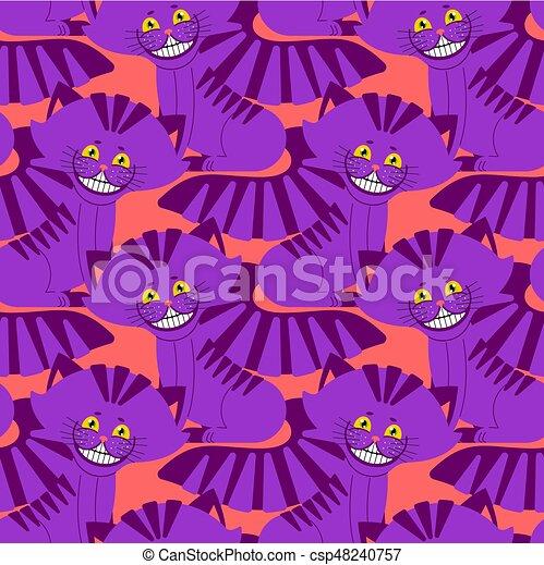fantastique, cheshire, magie, animal, chouchou, pattern., alice, texture, chat, wonderland., fond, sourire - csp48240757