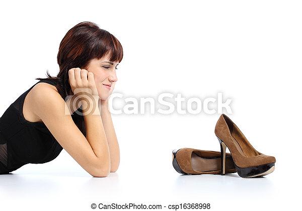 femme, élevé, stylet, chaussures, regarder, talons, beau - csp16368998
