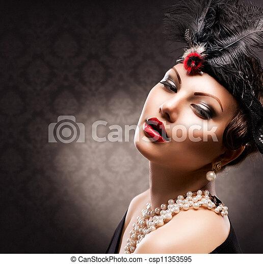 femme, appelé, girl, retro, portrait., vendange - csp11353595
