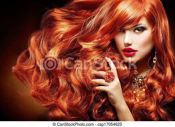 femme, bouclé, long, mode, hair., portrait, rouges - csp17054625