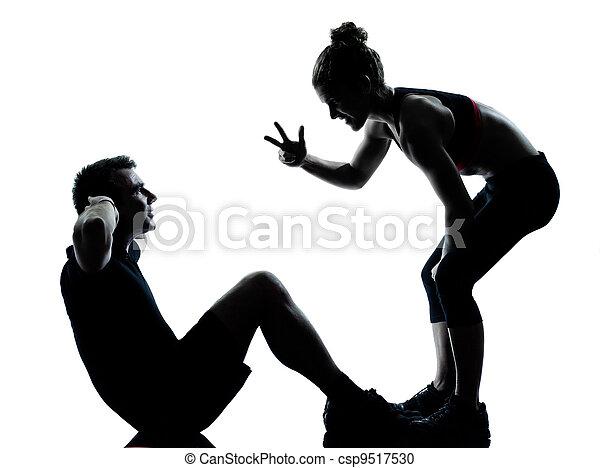 femme, couple, exercisme, une, fitness, séance entraînement, homme - csp9517530