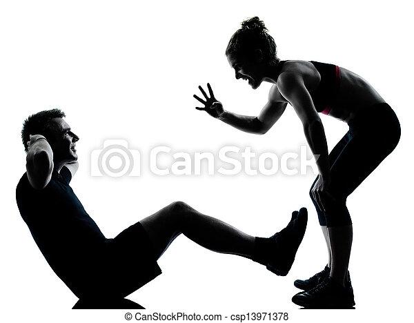 femme, couple, exercisme, une, fitness, séance entraînement, homme - csp13971378