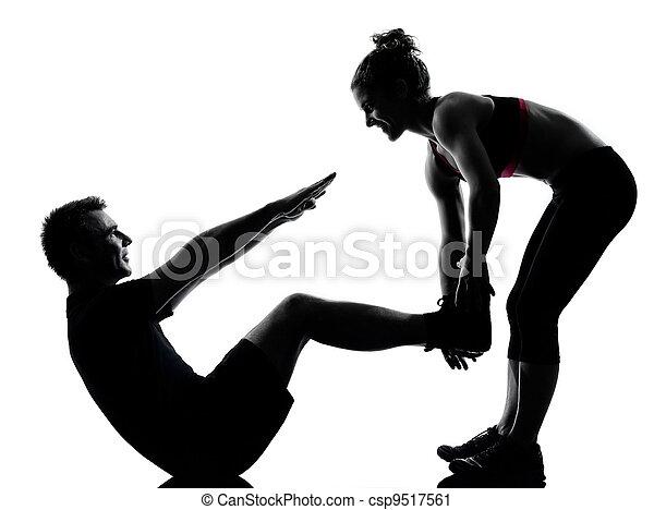 femme, couple, exercisme, une, fitness, séance entraînement, homme - csp9517561