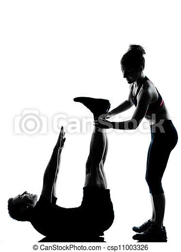 femme, couple, exercisme, une, fitness, séance entraînement, homme - csp11003326