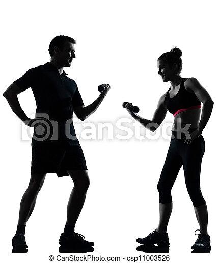 femme, couple, exercisme, une, fitness, séance entraînement, homme - csp11003526