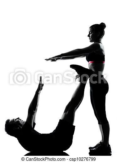 femme, couple, exercisme, une, fitness, séance entraînement, homme - csp10276799