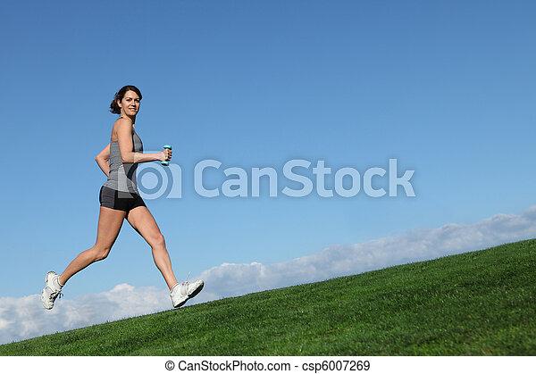 femme, crise, sain, courant, jogging, ou, dehors - csp6007269