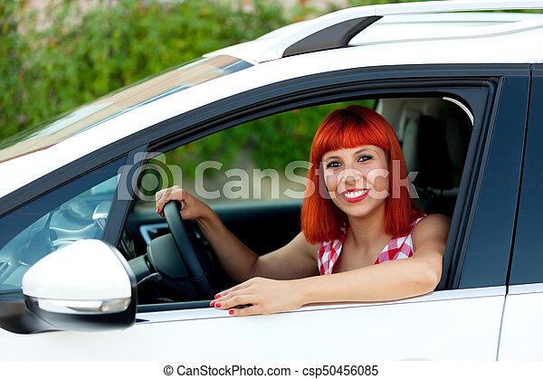femme, elle, chevelure, voiture, nouveau, rouges - csp50456085