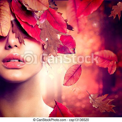 femme, mode, portrait., automne, automne - csp13136520