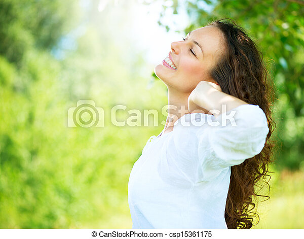 femme, outdoor., jouir de, jeune, nature, beau - csp15361175