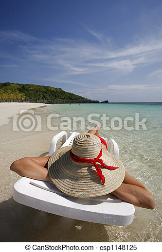 femme, plage - csp1148125