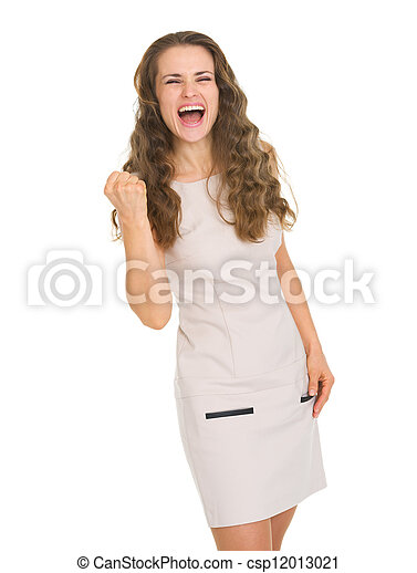 femme, projection, jeune, oui, robe, geste, heureux - csp12013021