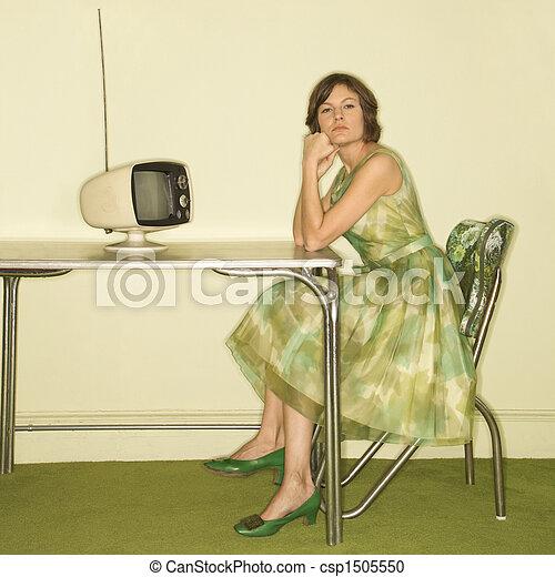 femme, retro, kitchen. - csp1505550