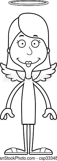 femme souriante, dessin animé, ange - csp33348847