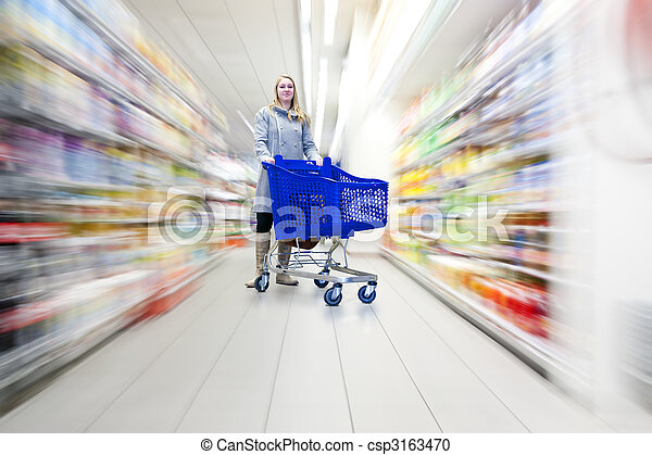 femme, supermarché - csp3163470