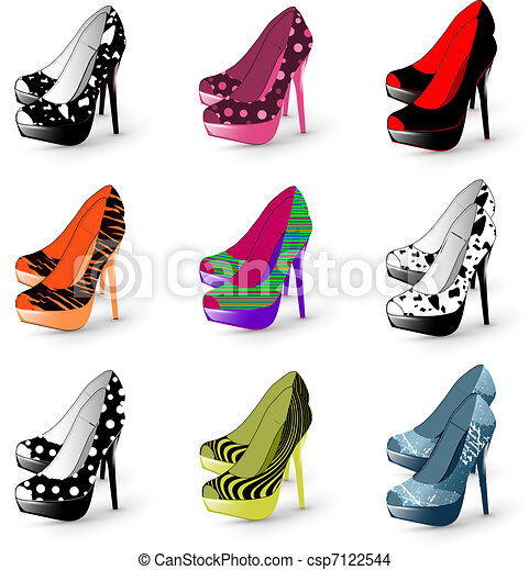 femme, talon, chaussures, élevé - csp7122544