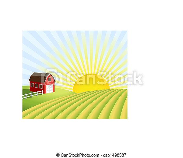 ferme, champs, levers de soleil - csp1498587