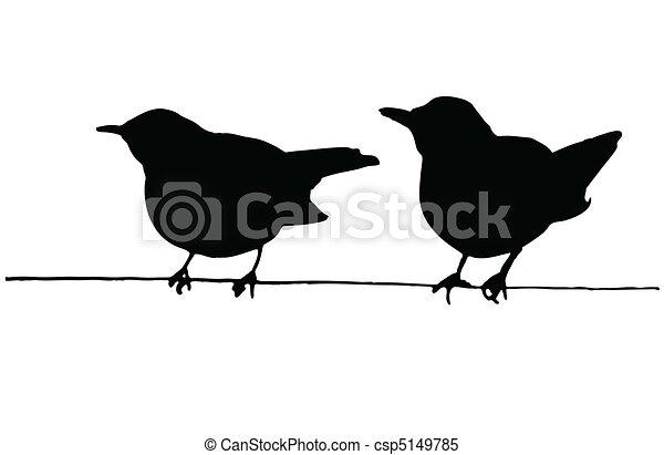 fil, deux oiseaux - csp5149785