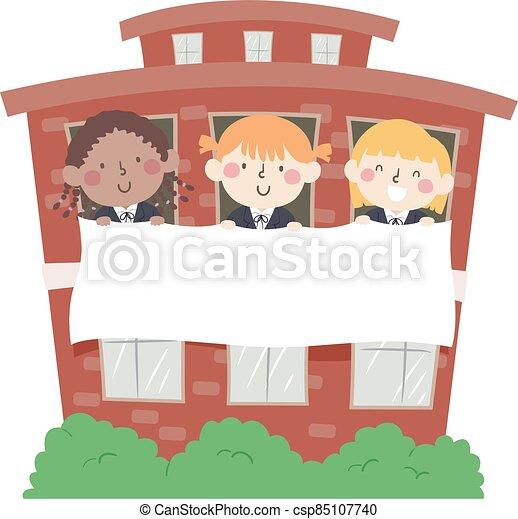 filles, bâtiment, bannière, gosses, école, illustration - csp85107740
