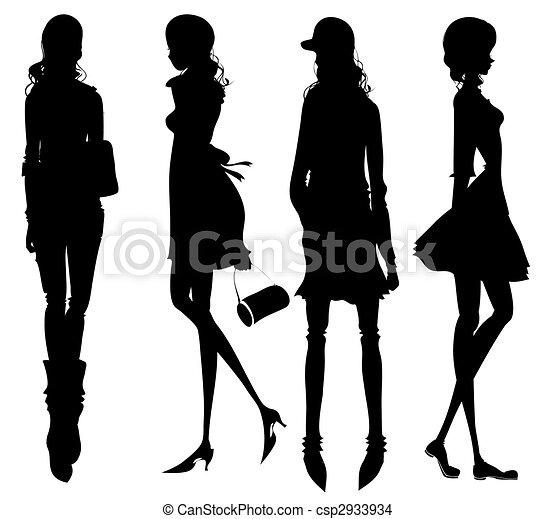 filles, mode, silhouette - csp2933934