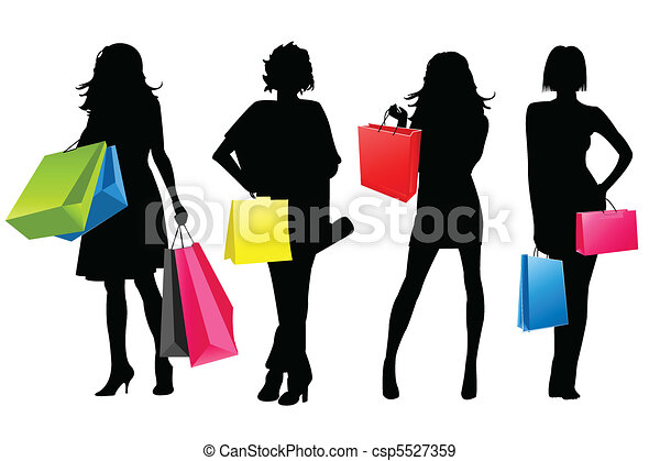 filles, silhouette, achats - csp5527359