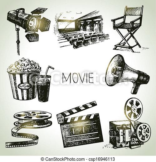 film, set., main, vendange, illustrations, dessiné, pellicule - csp16946113