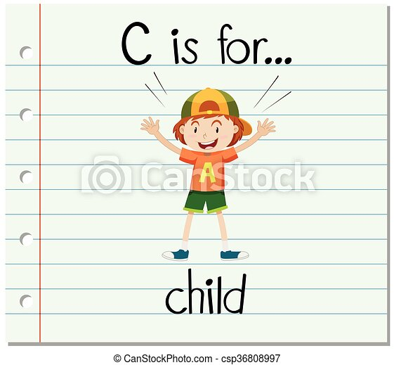 flashcard, c, lettre, enfant - csp36808997