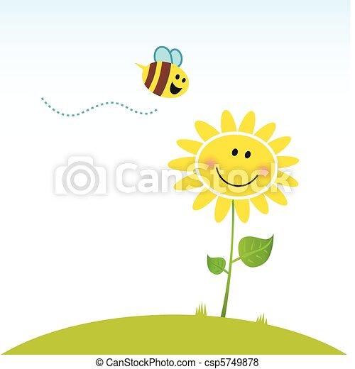 fleur, heureux, printemps, abeille - csp5749878