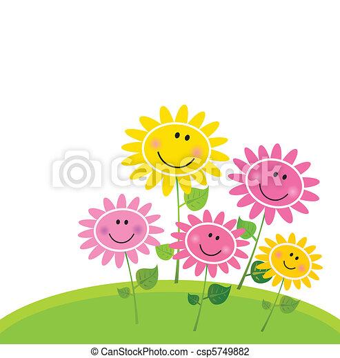 fleur, heureux, printemps, jardin - csp5749882