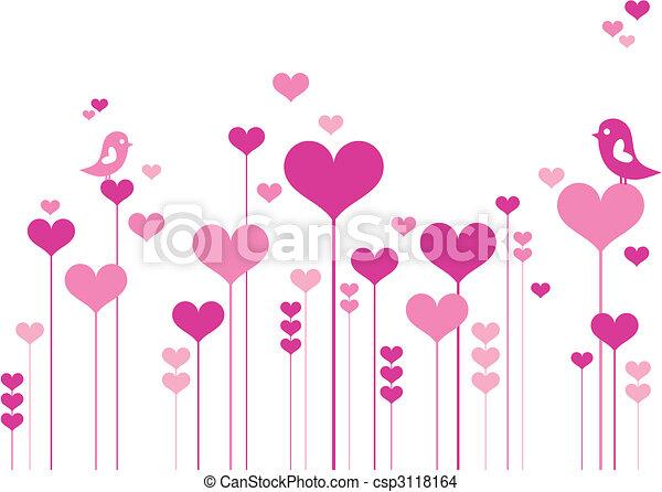 fleurs, coeur, oiseaux - csp3118164