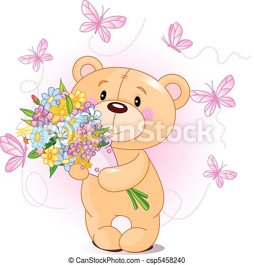 fleurs, ours peluche, rose - csp5458240